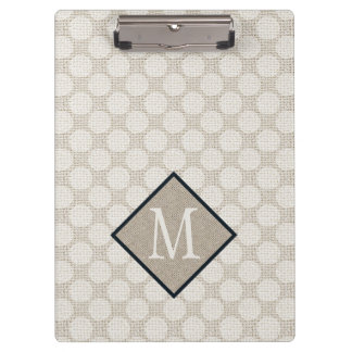 Faux Burlap Natural and Ivory Polka Dots Clipboard