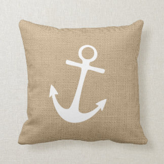 Faux Burlap Nautical Throw Pillow with Anchor