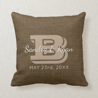 Faux Burlap Rustic Monogram Wedding Date Cushion