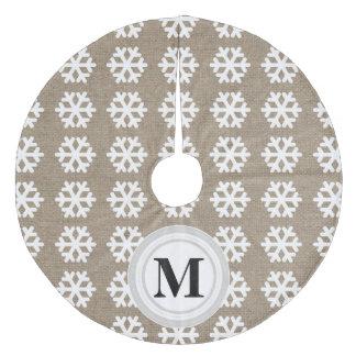 Faux Burlap White Snowflakes Monogram Tree Skirt Fleece Tree Skirt