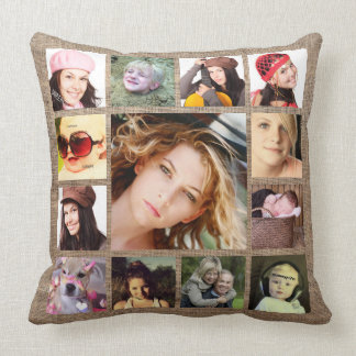 Faux Burlap with Instagram Photo Collage Cushion