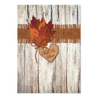 FAUX Burlap, Wood, Leaves, Heart Wedding Invite 2