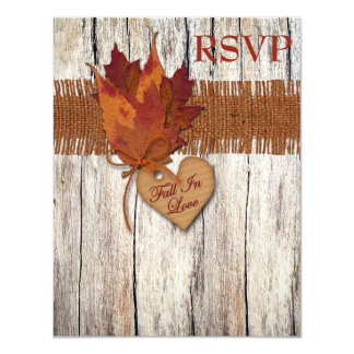 FAUX Burlap Wood Leaves Heart Wedding Reply Card 11 Cm X 14 Cm Invitation Card