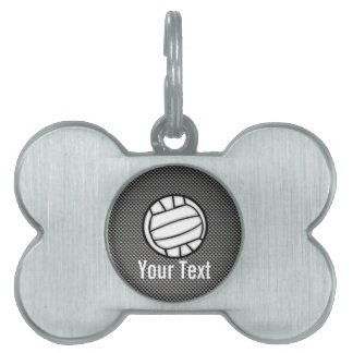 Faux Carbon Fiber Volleyball Pet ID Tag