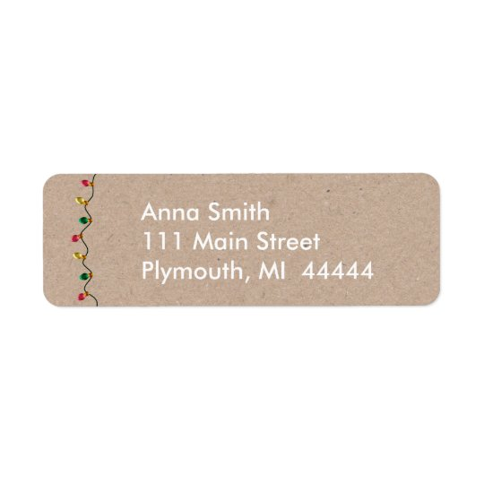 Faux Cardboard Christmas Light Address Label