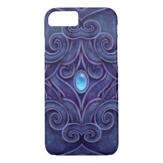 Faux Carved Granite pattern with blue Jewel iPhone 7 Case