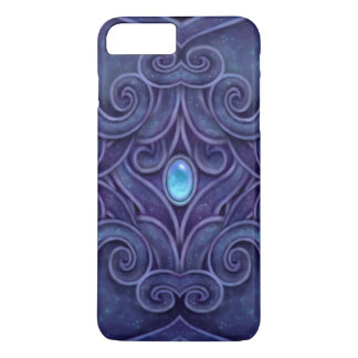 Faux Carved Granite pattern with blue Jewel iPhone 7 Plus Case