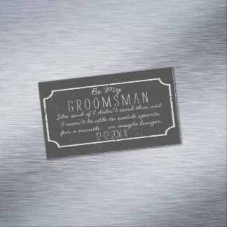 Faux Chalkboard Frame Be My Groomsman Request Magnetic Business Cards