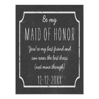Faux Chalkboard Framed Be My Maid of Honor Request Magnetic Card