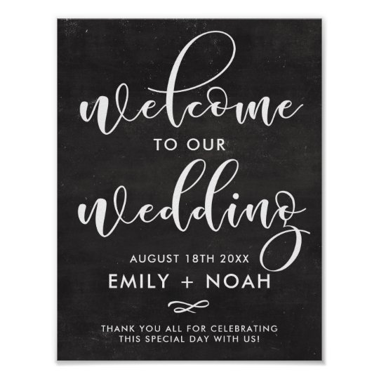 Faux Chalkboard Rustic Script Welcome Wedding Sign