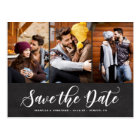 Faux Chalkboard Three Photo Collage Save the Date Postcard