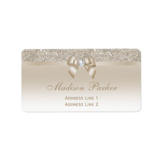 Faux Champagne Sequins Bow Ribbon Diamond Address Label