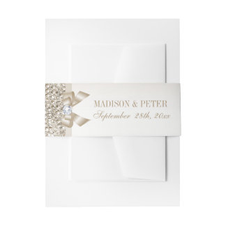 Faux Champagne Sequins Bow Wedding Invitation Belly Band
