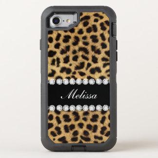 Faux Cheetah Fur Diamonds OtterBox Defender iPhone 7 Case