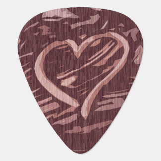 Faux Cherry Wood Stain Graphic Heart Guitar Pick
