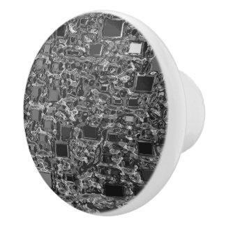 Faux Chrome Mini Box Background Ceramic Knob