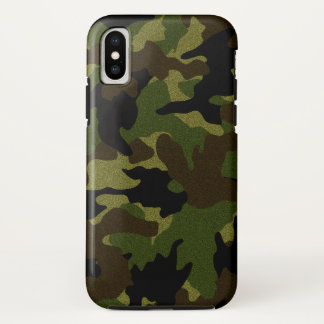 Faux Cloth Green Camo Military Camouflage Pattern iPhone X Case