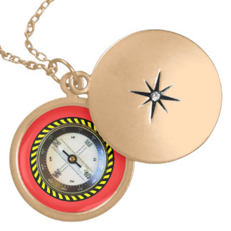 Faux Compass gold finish Locket