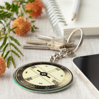 Faux Compass just an image Basic Round Button Key Ring