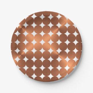 Faux copper dots design paper plate