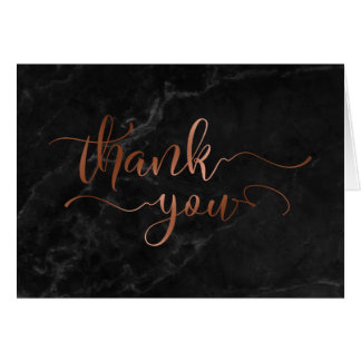Faux Copper Foil Script Thank You & Black Marble Card