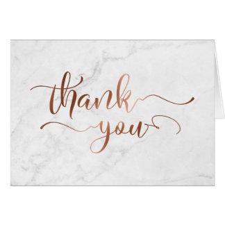 Faux Copper Foil Script Thank You & White Marble Card