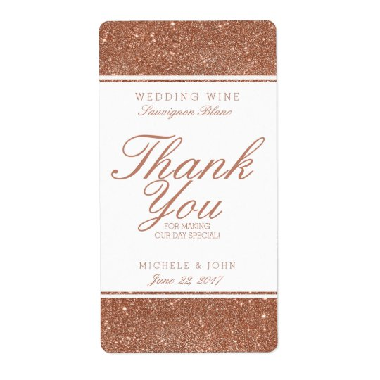 Faux Copper Glitter Wedding Wine Custom Label