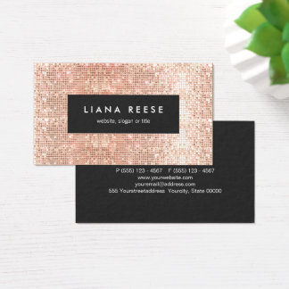 FAUX Copper Gold Sequins Beauty Salon Business Card