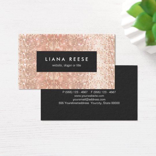 FAUX Copper Gold Sequins Beauty Salon Business Card