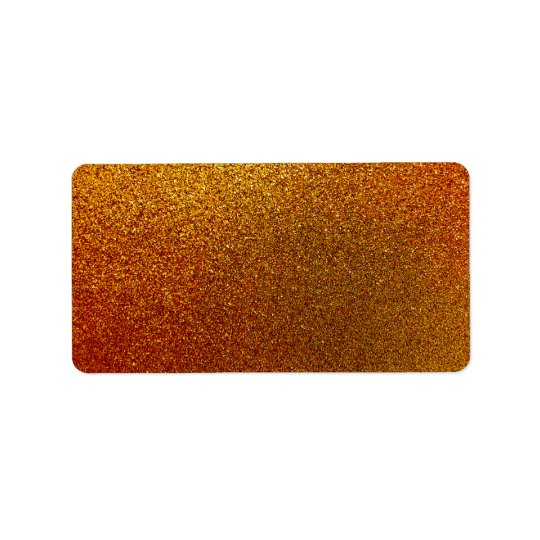 Faux Copper Gold Yellow Glitter Background Sparkle Address Label