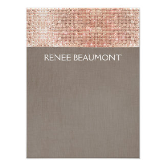 Faux Copper Sequins on Taupe Linen Poster
