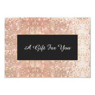 Faux Copper Sequins Spa and Salon Gift Certificate 9 Cm X 13 Cm Invitation Card