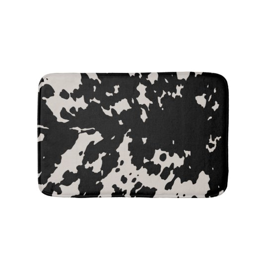 Faux Cowhide Black Spots Country Western Bath Mat