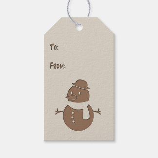 Faux Cutout - Snowman - Gift Tag #1