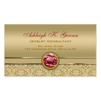 Faux Dark Ruby Red Gemstone Metallic Gold Damask Double-Sided Standard Business Cards (Pack Of 100)
