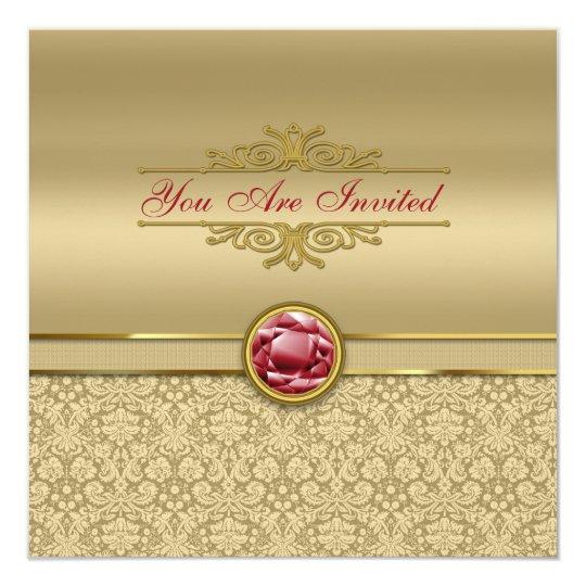 Faux Dark Ruby Red Gemstone Metallic Gold Damask