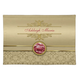 Faux Dark Ruby Red Gemstone Metallic Gold Damask Placemats