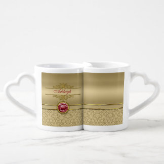 Faux Dark Ruby Red Gemstone Metallic Gold Damask Coffee Mug Set