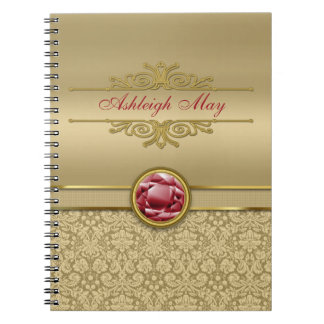 Faux Dark Ruby Red Gemstone Metallic Gold Damask Notebook