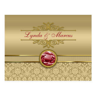 Faux Dark Ruby Red Gemstone Metallic Gold Damask Postcard