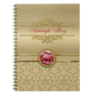 Faux Dark Ruby Red Gemstone Metallic Gold Damask Spiral Note Book