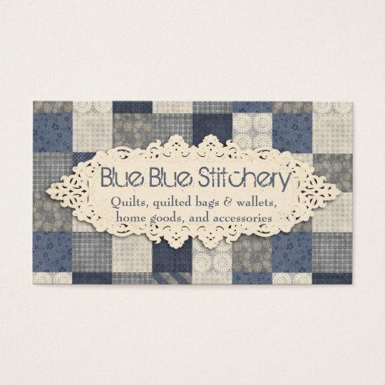 Faux denim blue cream quilting quilter pattern business card