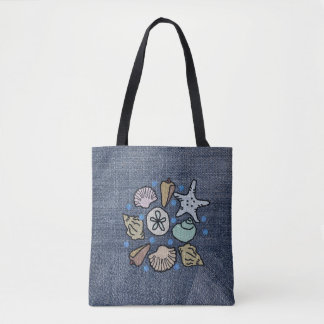 Faux Denim Patchwork Seashell Art Bag