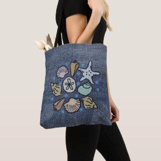 Faux Denim Patchwork Seashell Art Bag
