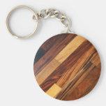 Faux Diagonal Wood Flooring Basic Round Button Key Ring