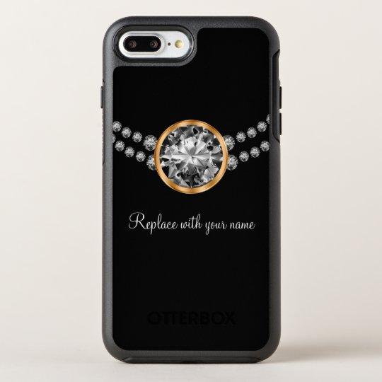 Faux Diamond Bling Monogram OtterBox Symmetry iPhone 8