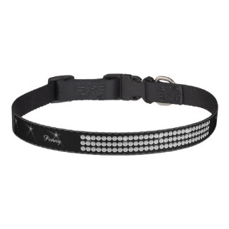 Faux Diamond Glitter Black Add Name monogram Pet Collar