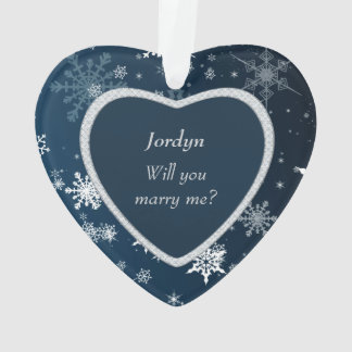 Faux Diamond Heart Snowflake Will You Marry Me Ornament