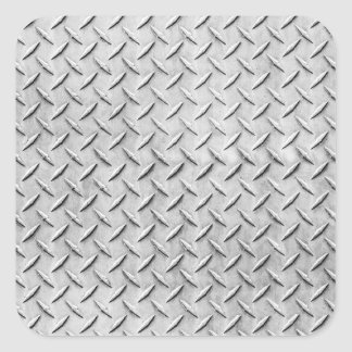 Faux Diamond Plating Background Square Sticker