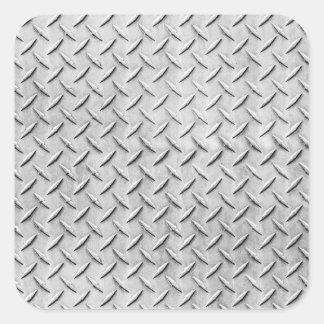 Faux Diamond Plating Background Square Sticker